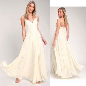 Lulus All About Love Cream V Neck Maxi